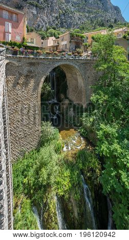 Large Panoramic View Of Waterfall And Ancient Arched Bridge, Moustier-sainte-marie, France