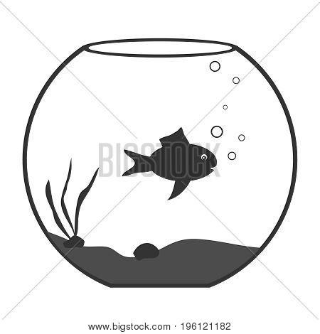Aquarium with fish aquarium icon. Flat design vector illustration vector.