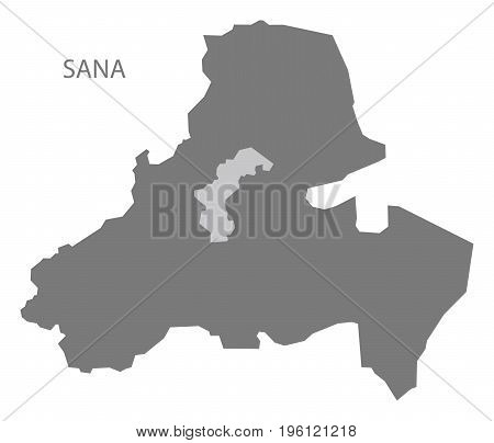 Sana Yemen Governorate Map Grey Illustration Silhouette Shape