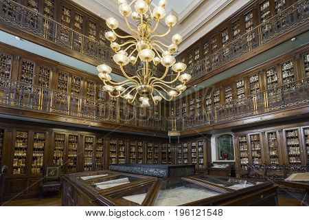 Marine ministry in Rome. Detail of library. Interior. Italy Rome 2017