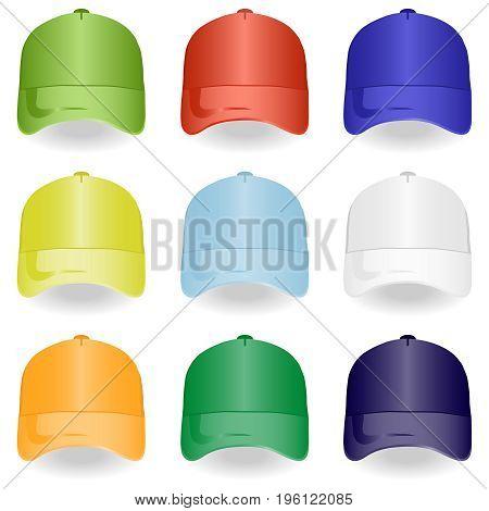 Baseball cap set of baseball caps. Flat design vector illustration vector.