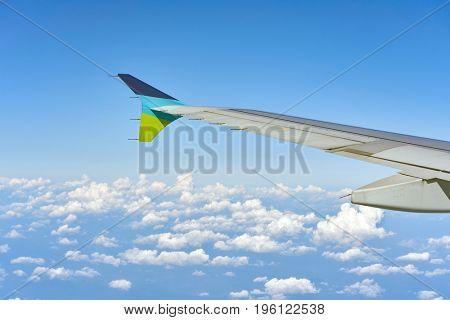 SEOUL, SOUTH KOREA - CIRCA MAY, 2017: View above the sky from Air Busan Airbus A320-200 aircraft.