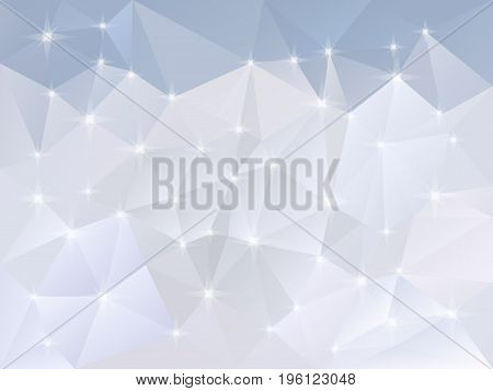 vector abstract irregular polygon background with a triangle pattern in light snow blue and white color with reflection