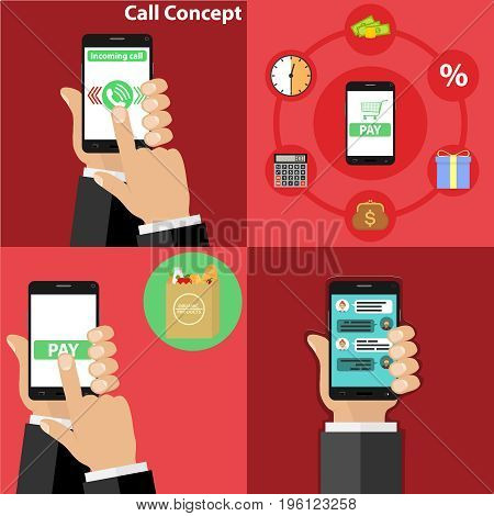 Phone in hand take incoming call order products via phone. Flat design vector illustration vector.
