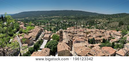 Aerial Panoramic View On Medieval Town Moustiers-sainte-marie In Provence. France