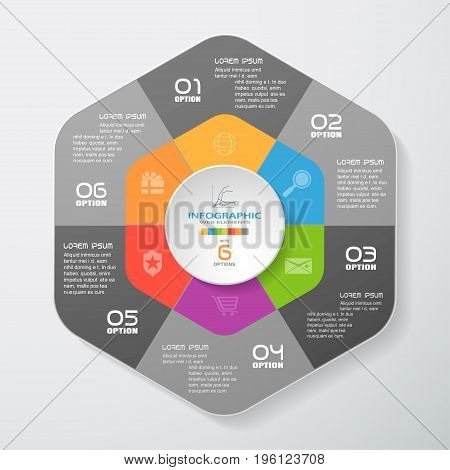 Vector infographic of gradient dark gray segmented hexagon cut from paper with shadows text and icons on the gradient gray background. Can be used for business presentation education.
