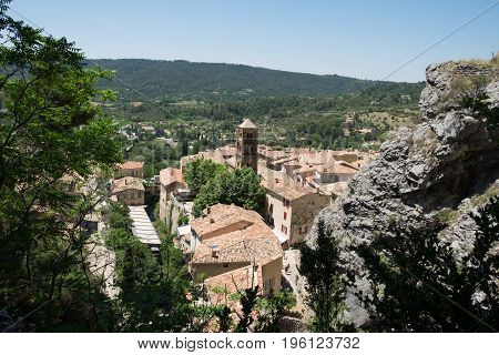Aerial View On Medieval Town Moustiers-sainte-marie In Provence. France