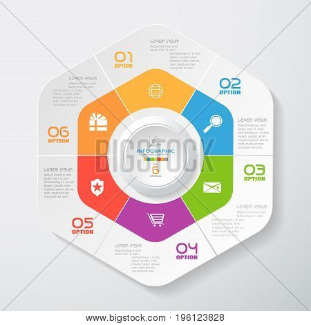 Vector infographic of hexagonal and round forms cut from paper with shadows gray text color numbers and white icons on the gradient gray background. Can be use for business and education.