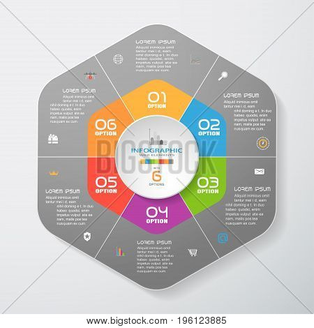 Vector infographic of gradient dark gray hexagonal forms cut from paper with shadows text and color icons on the gradient gray background. Can be used for business presentation education.