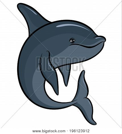 Vector drawing - hand drawing colorful dolphin