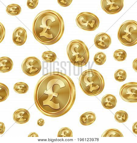 GBP Seamless Pattern Vector. Gold Coins. Isolated Background
