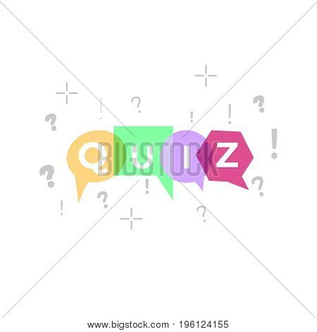 Quiz logo with speech bubble symbols, concept of questionnaire show sing, quiz button, question competition, exam,