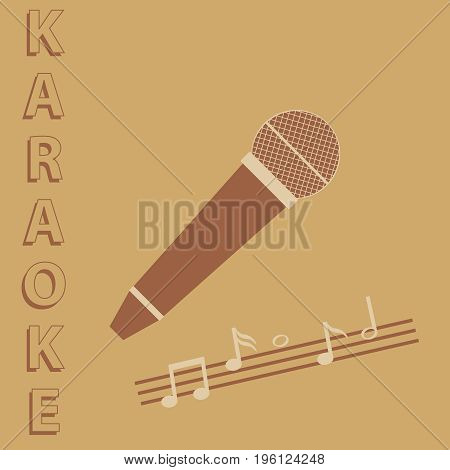 Retro microphone karaoke microphone icon. Flat design vector illustration vector.