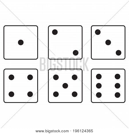 Craps icon set dice cube shape flat spotted vector activity
