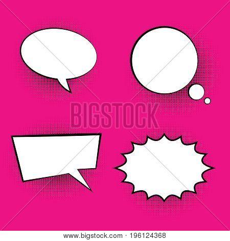 pop art colored speech bubbles retro halftone dialog chat boxes text  frame  bubbles vector