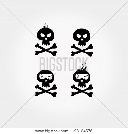 Comic skull and crossbones icon set. Halloween design element. Vector illustration.