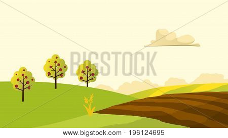 Agriculture and Farming landscape view. Agrotourism. Agribusiness. Rural landscape. Design elements for info graphic websites and print media. Vector illustrations