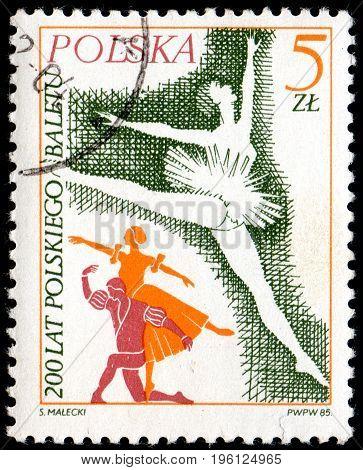 UKRAINE - CIRCA 2017: A postage stamp printed in Poland shows Prima ballerina from series Ballet circa 1985