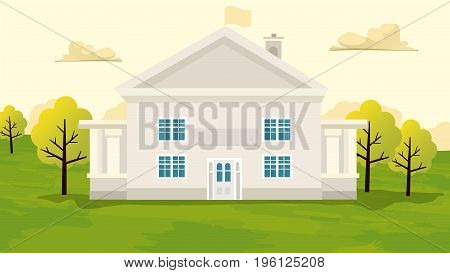 Vintage house in the farming rural field. Agriculture and Farming. Agrotourism. Agribusiness. Rural landscape. Design elements for info graphic websites and print media. Vector illustrations