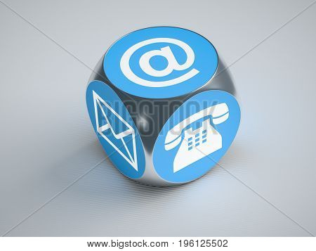 3d rendering of a turquoise cube with signs for email phone and letter