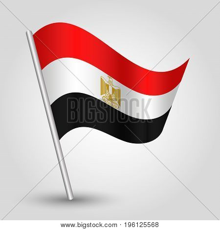 vector waving simple triangle egyptian flag on slanted silver pole - icon of egypt with metal stick