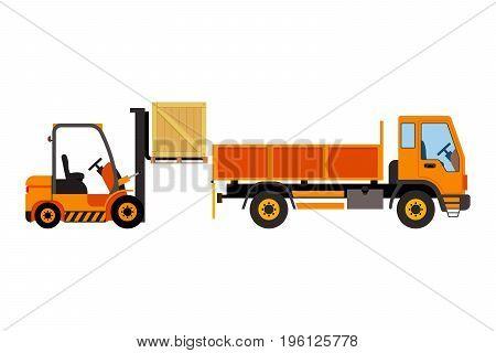 Orange forklift loading truck. Vector flat illustration.