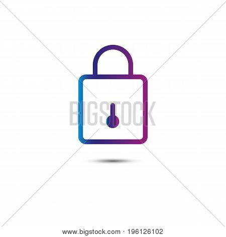 Lock line icon. Inline. Purple. Vector illustration.