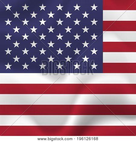 America flag background. Waving flag. Vector illustration.