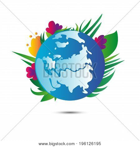Earth planet with flowers on white background. Earth day. Vector.