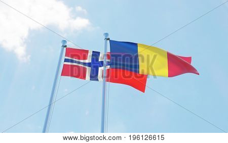 Romania and Norway, two flags waving against blue sky. 3d image