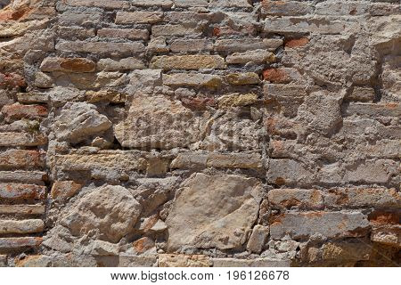 Stone wall constructed of fragments of rock