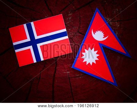 Norwegian Flag With Nepali Flag On A Tree Stump Isolated