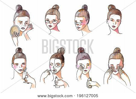 Beauty set with lovely brunette girl taking care of her skin. Collection isolated on white background with girl applying patches under eyes preventing blackheads Hand drawn watercolor illustration.
