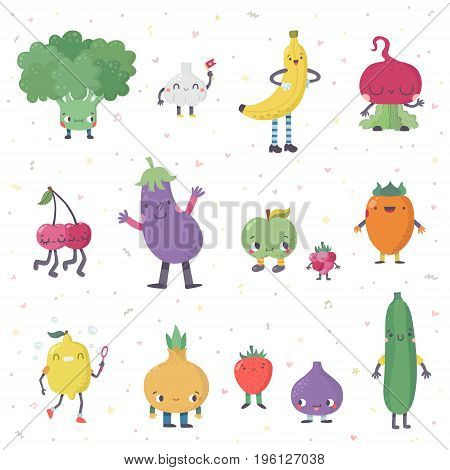 Cute cartoon live fruits and vegetables vector set. Funny characters in nice colors. Part two.
