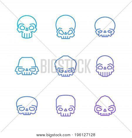 Outline skulls blue-purple gradient vector icon set. Clean and simple design. Part one.