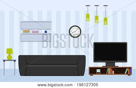 Living room with furniture design. House interior in flat style. Vector illustration.