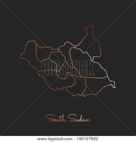 South Sudan Region Map: Golden Gradient Outline On Dark Background. Detailed Map Of South Sudan Regi