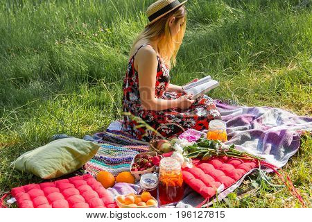 girl on a picnic in the outdoor reads the book