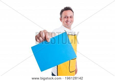 Hypermarket Employee Or Worker Holding Blank Paper