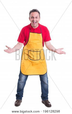 Excited Supermarket Employee Standing With Palms Open