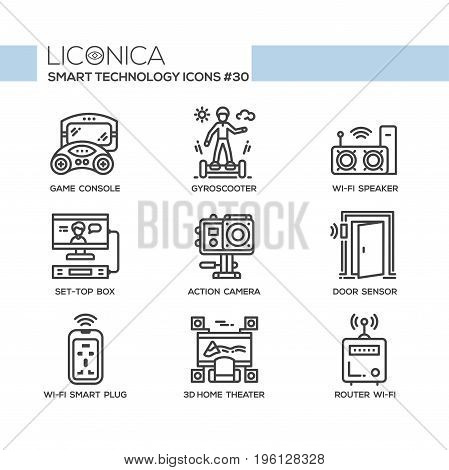 Smart Technology - modern vector flat line design icons set. Game console, gyroscooter, wifi speaker, set-top box, action camera, door sensor, wireless plug, 3d home theater, router.