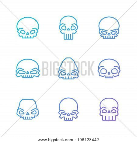 Outline skulls blue-purple gradient vector icon set. Clean and simple design. Part two.