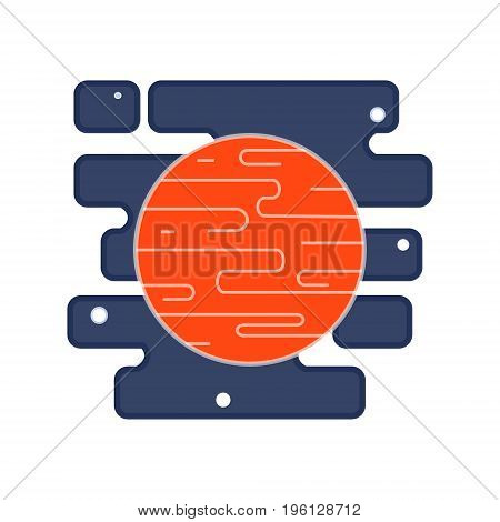 Red planet Mars icon in the space with stars. Vector flat illustration.