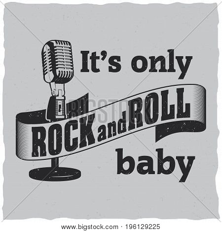 Rock and roll poster with microphone to design t-shirts and greeting cards vector illustration