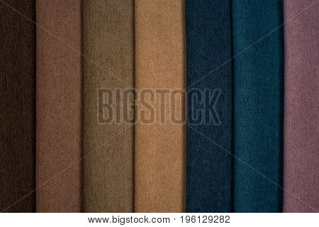 Color samples of the upholstery fabric in the assortment. Abstract background empty template.
