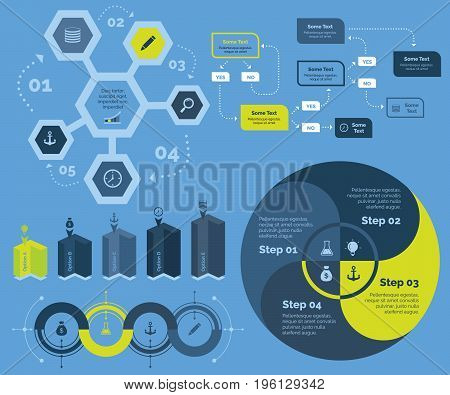 Infographic design set can be used for workflow layout, diagram, annual report, presentation, web design. Business and management concept with process and flow charts.