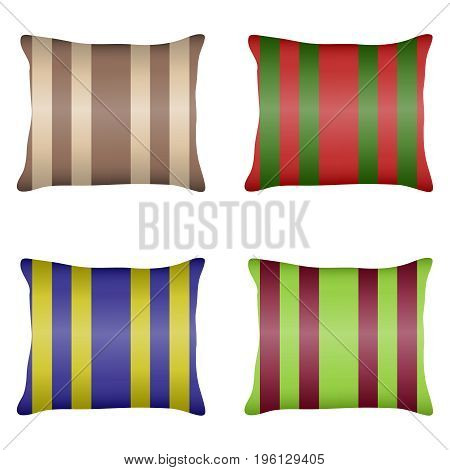 Pillow a set of striped pillows. Flat design vector illustration vector.