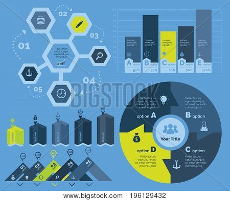 Infographic design set can be used for workflow layout, diagram, annual report, presentation, web design. Business and marketing concept with process and bar charts.