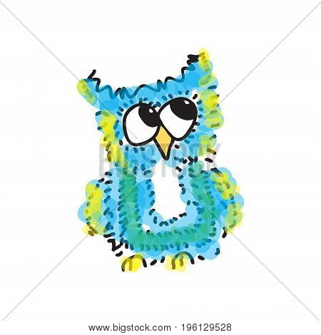 modest little blue owl. Vector illustration. Drawing by hand