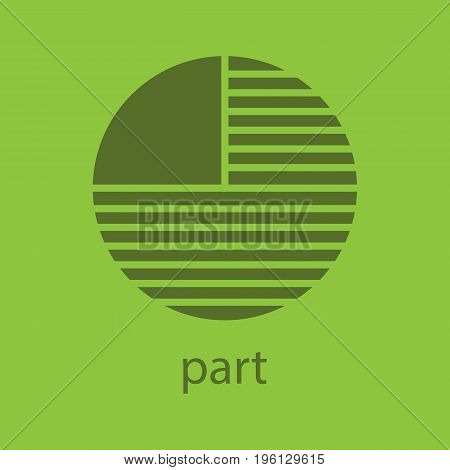 Circle diagram with missing part glyph color icon. Silhouette symbol. Portion abstract metaphor. Negative space. Vector isolated illustration